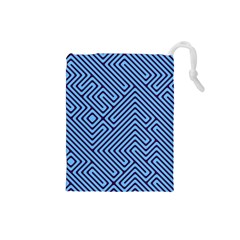 Blue maze Drawstring Pouch (Small)