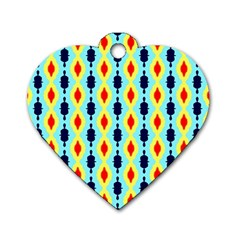 Yellow Chains Pattern Dog Tag Heart (two Sides)