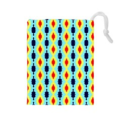 Yellow chains pattern Drawstring Pouch (Large)