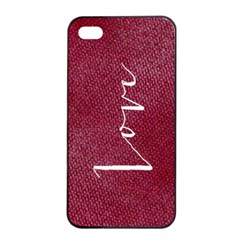 LOVE Maroon Linen Texture Apple iPhone 4/4s Seamless Case (Black)
