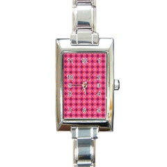 Abstract Pink Floral Tile Pattern Rectangular Italian Charm Watch