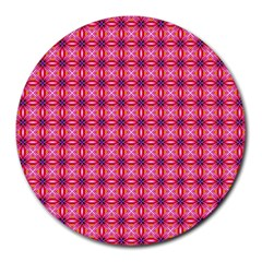 Abstract Pink Floral Tile Pattern 8  Mouse Pad (round)