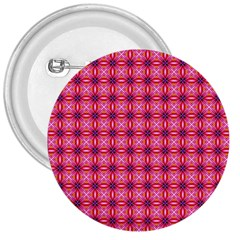 Abstract Pink Floral Tile Pattern 3  Button