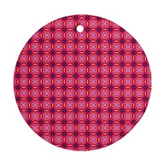 Abstract Pink Floral Tile Pattern Round Ornament
