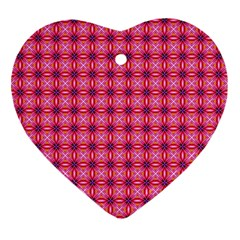 Abstract Pink Floral Tile Pattern Heart Ornament