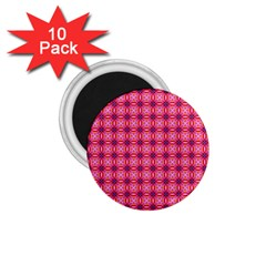 Abstract Pink Floral Tile Pattern 1 75  Button Magnet (10 Pack)