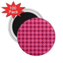 Abstract Pink Floral Tile Pattern 2 25  Button Magnet (100 Pack)