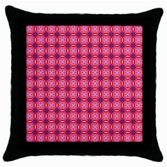 Abstract Pink Floral Tile Pattern Black Throw Pillow Case