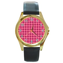 Abstract Pink Floral Tile Pattern Round Leather Watch (gold Rim)