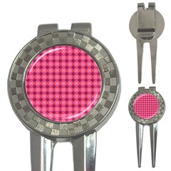 Abstract Pink Floral Tile Pattern Golf Pitchfork & Ball Marker