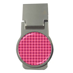 Abstract Pink Floral Tile Pattern Money Clip (round)