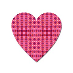 Abstract Pink Floral Tile Pattern Magnet (heart)