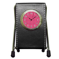 Abstract Pink Floral Tile Pattern Stationery Holder Clock