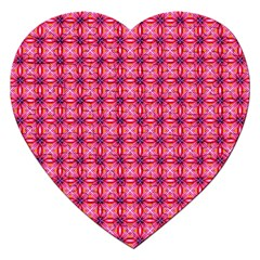 Abstract Pink Floral Tile Pattern Jigsaw Puzzle (heart)