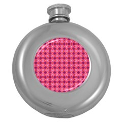 Abstract Pink Floral Tile Pattern Hip Flask (round)