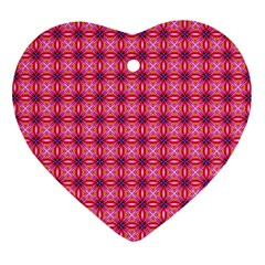 Abstract Pink Floral Tile Pattern Heart Ornament (two Sides)