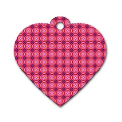 Abstract Pink Floral Tile Pattern Dog Tag Heart (one Sided)