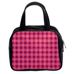 Abstract Pink Floral Tile Pattern Classic Handbag (two Sides)