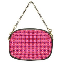 Abstract Pink Floral Tile Pattern Chain Purse (one Side)