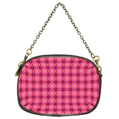 Abstract Pink Floral Tile Pattern Chain Purse (two Sided)