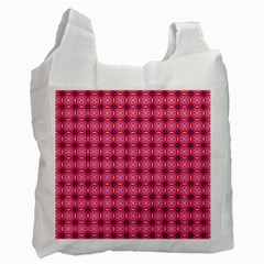 Abstract Pink Floral Tile Pattern White Reusable Bag (one Side)