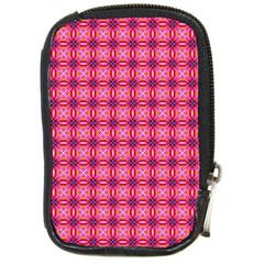 Abstract Pink Floral Tile Pattern Compact Camera Leather Case