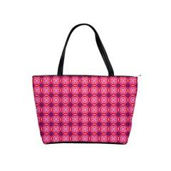 Abstract Pink Floral Tile Pattern Large Shoulder Bag