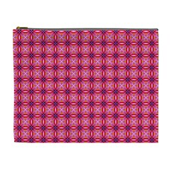 Abstract Pink Floral Tile Pattern Cosmetic Bag (xl)