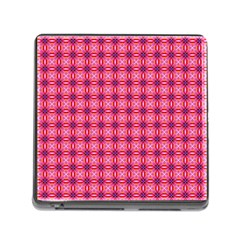 Abstract Pink Floral Tile Pattern Memory Card Reader With Storage (square)