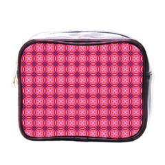Abstract Pink Floral Tile Pattern Mini Travel Toiletry Bag (one Side)