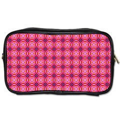 Abstract Pink Floral Tile Pattern Travel Toiletry Bag (one Side)