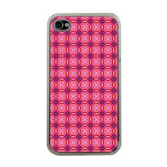 Abstract Pink Floral Tile Pattern Apple Iphone 4 Case (clear)