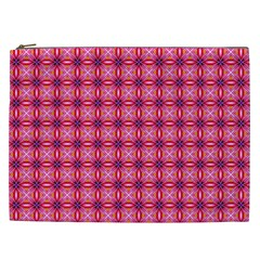 Abstract Pink Floral Tile Pattern Cosmetic Bag (xxl)