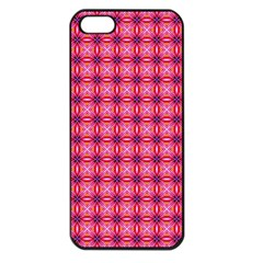Abstract Pink Floral Tile Pattern Apple Iphone 5 Seamless Case (black)