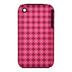 Abstract Pink Floral Tile Pattern Apple iPhone 3G/3GS Hardshell Case (PC+Silicone)