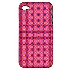 Abstract Pink Floral Tile Pattern Apple Iphone 4/4s Hardshell Case (pc+silicone)