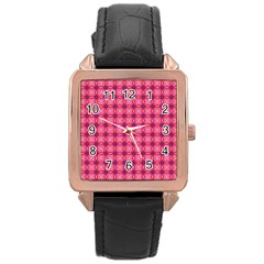 Abstract Pink Floral Tile Pattern Rose Gold Leather Watch