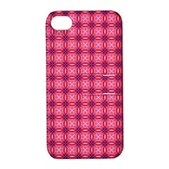 Abstract Pink Floral Tile Pattern Apple Iphone 4/4s Hardshell Case With Stand