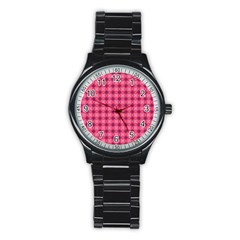 Abstract Pink Floral Tile Pattern Sport Metal Watch (black)