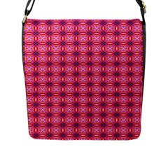 Abstract Pink Floral Tile Pattern Flap Closure Messenger Bag (large)