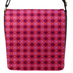 Abstract Pink Floral Tile Pattern Flap Closure Messenger Bag (small)