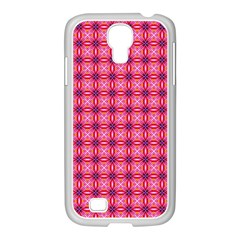 Abstract Pink Floral Tile Pattern Samsung Galaxy S4 I9500/ I9505 Case (white)