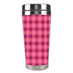 Abstract Pink Floral Tile Pattern Stainless Steel Travel Tumbler