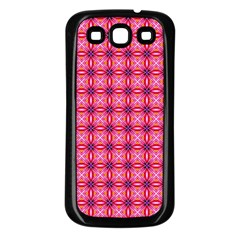 Abstract Pink Floral Tile Pattern Samsung Galaxy S3 Back Case (black)