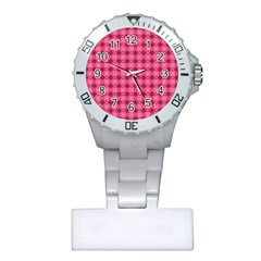 Abstract Pink Floral Tile Pattern Nurses Watch