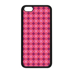 Abstract Pink Floral Tile Pattern Apple Iphone 5c Seamless Case (black)