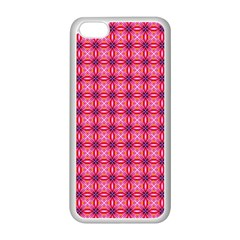 Abstract Pink Floral Tile Pattern Apple Iphone 5c Seamless Case (white)
