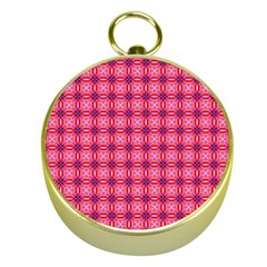 Abstract Pink Floral Tile Pattern Gold Compass