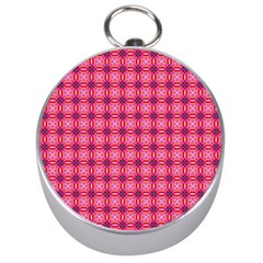 Abstract Pink Floral Tile Pattern Silver Compass