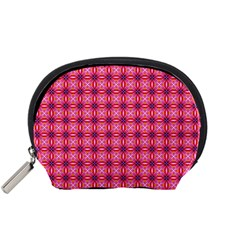 Abstract Pink Floral Tile Pattern Accessory Pouch (Small)